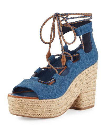 Positano Lace-Up Espadrille Sandal, Blue