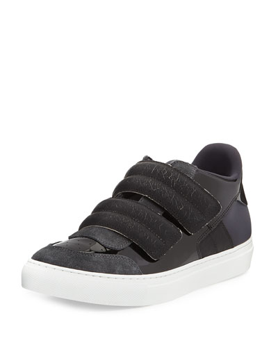Banded Leather Low-Top Sneaker, Black/Gray