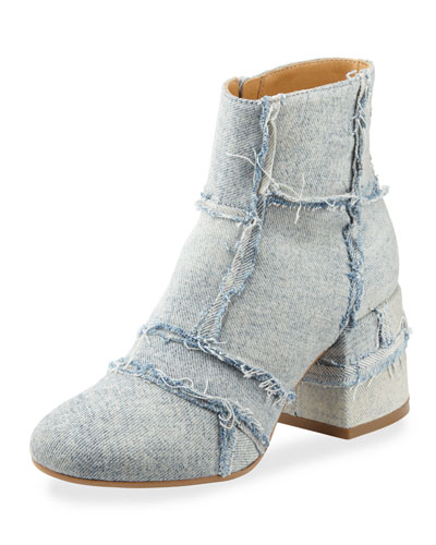 Denim Chunky-Heel Bootie. Light Blue