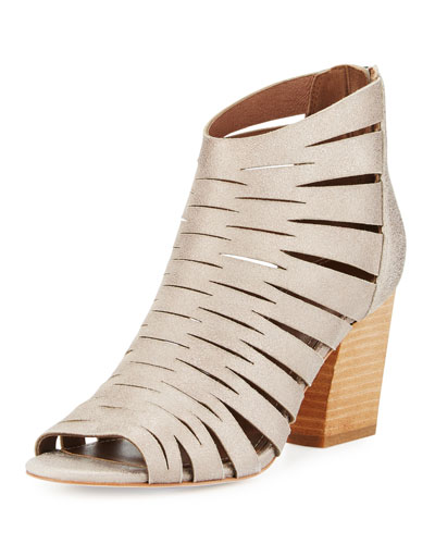 Greece Laser-Cut Open-Toe Bootie, Blush Pink