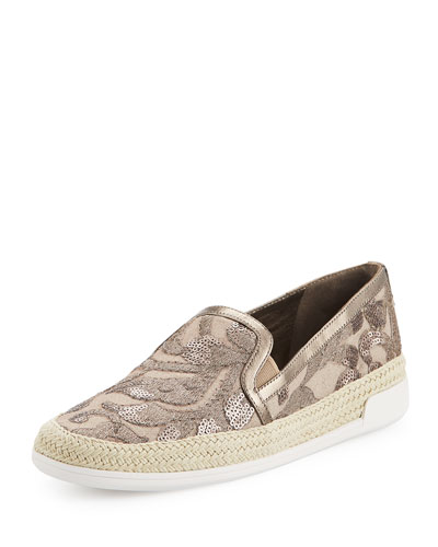 Pamela Embellished Canvas Slip-On Sneaker, Taupe