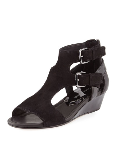 Eden Dual-Buckle Wedge Sandal, Black
