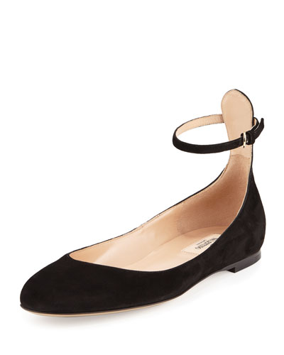 Tan-Go Suede Ballerina Flat, Black