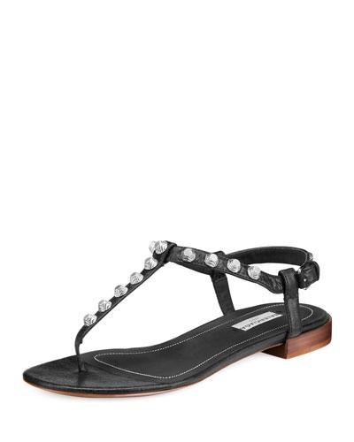Studded Flat Leather T-Strap Sandal, Noir