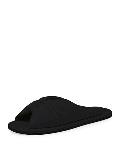 Bow Leather Flat Slide Sandal