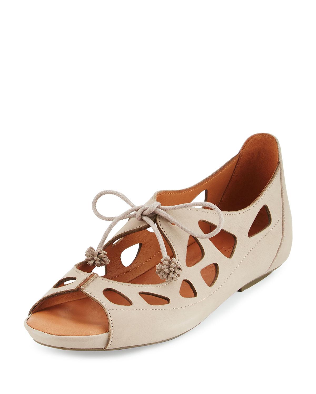 Brynn Nubuck Lace-Up Sandal, Beige