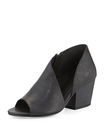 Drake Asymmetric Open-Toe Bootie, Black