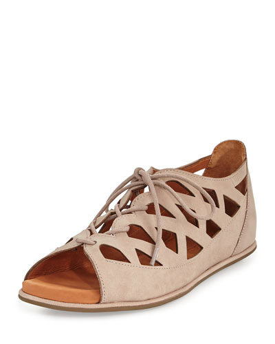 Betsi Laser-Cut Lace-Up Sandal