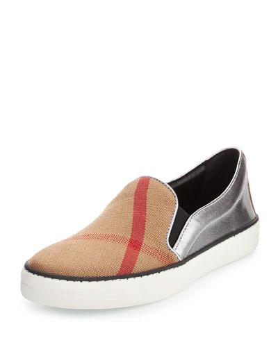 Gauden Check Canvas & Leather Skate Sneaker, Black/Silver