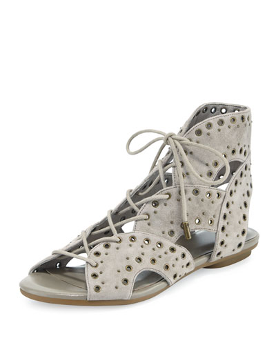 Fabienne Lace-Up Flat Sandal, Gray