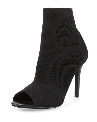 Adriel Stretch Peep-Toe Bootie, Black