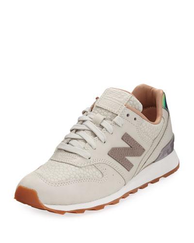 696 Leather & Jacquard Sneaker, Beige