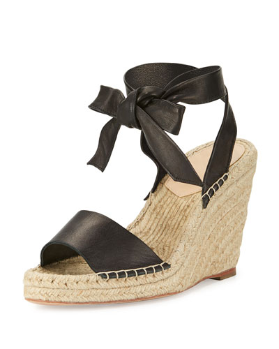 Harper Ankle-Wrap Wedge Espadrille Sandal, Black