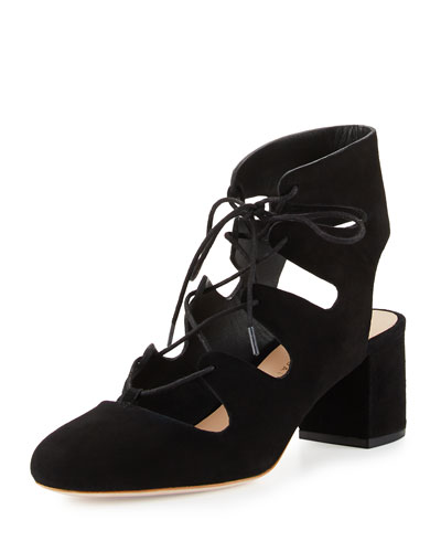 Lexi Caged Suede Block-Heel Pump, Black