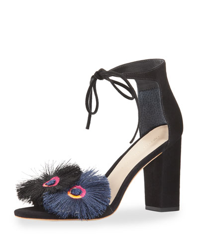 Virginia Tassel-Embroidered Suede Sandal