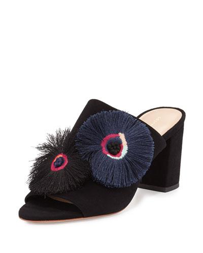 Clo Fringe-Embroidered Suede Mule Sandal