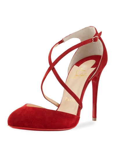 Crossbreche Suede Red Sole Pump, Red