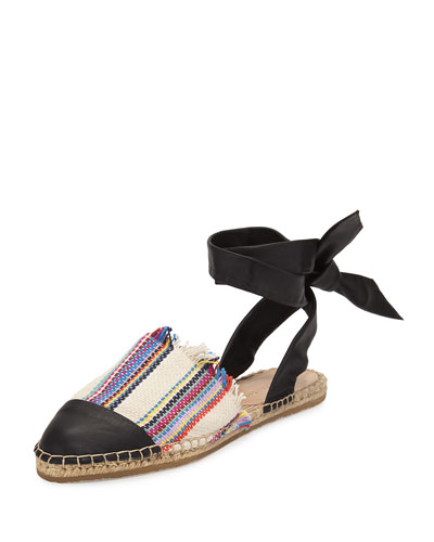 Heloise Striped Ankle-Wrap Espadrille Flat, Multi