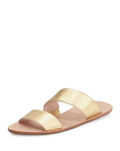Clem Flat Leather Slide Sandal, Gold