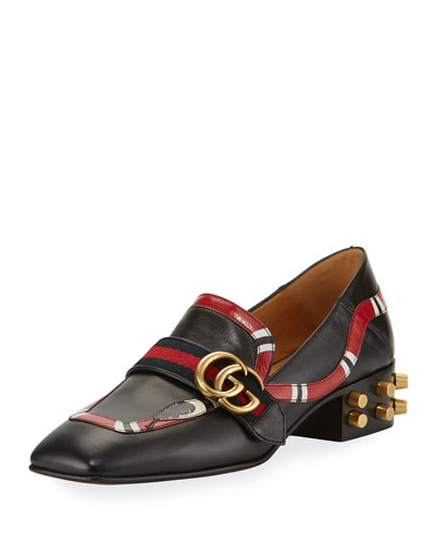Yoko Leather Snake Loafer, Black