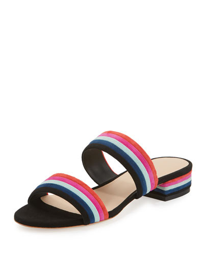 Rubie Striped Suede Slide Sandal, Black/Multi