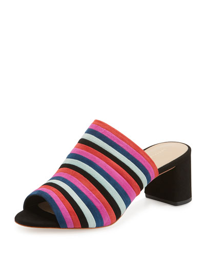 Kenna Striped Suede Mule Sandal, Black/Multi