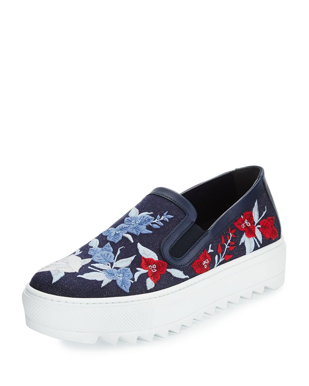 Embroidered Denim Sneaker, Indigo