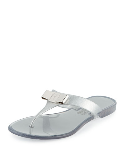 Bow Flat Jelly Thong Sandal, Silver