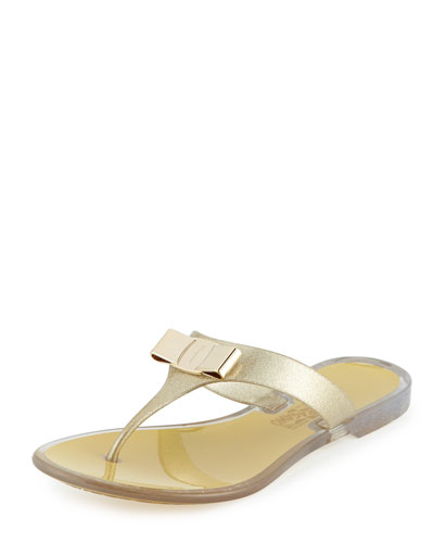 Bow Flat Jelly Thong Sandal, Bronze