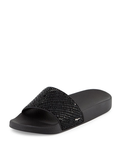 Crystal Slide Sandal, Black