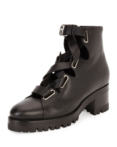 Plum Lace-Up Leather Combat Boot, Black
