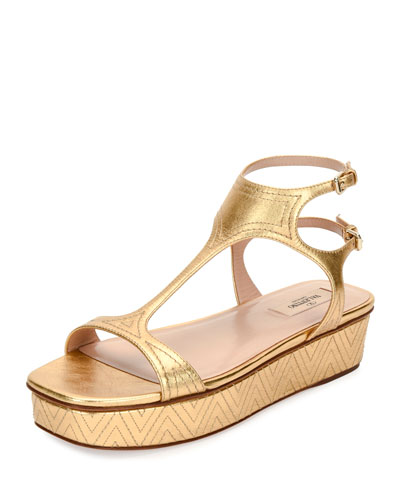 Embroidered T-Strap Flatform Sandal, Gold