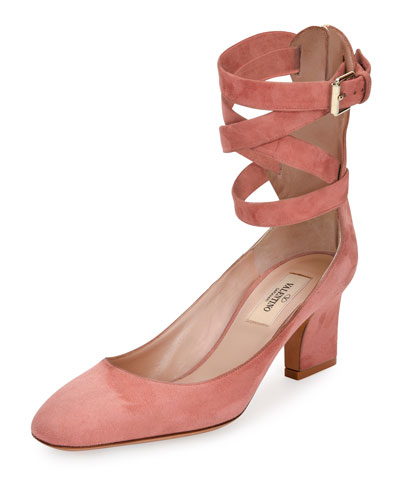 Suede Lace-Up 65mm Pump, Mauve
