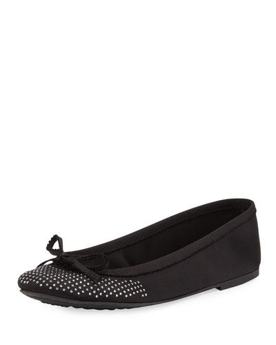 Alicia Crystal Ballerina Flat, Black