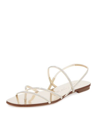 Ebbie Strappy Crystal Sandal, Champagne