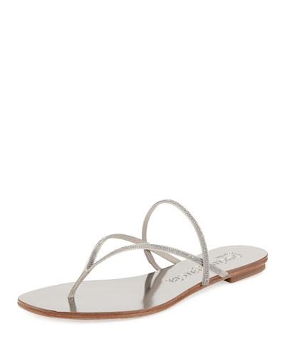 Enara Crystal Thong Sandal, Silver