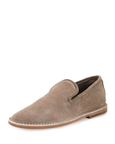 Percell Tumbled Leather Loafer, Dark Gray