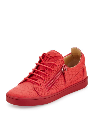 Breks Snake-Embossed Side-Zip Sneaker, Red