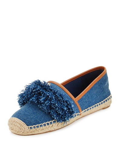 Shaw Fringe Espadrille Flat, Denim Blue/Royal Tan