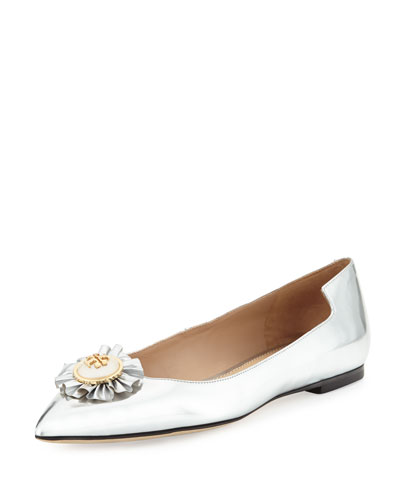 Melody Metallic Leather Flat, Silver