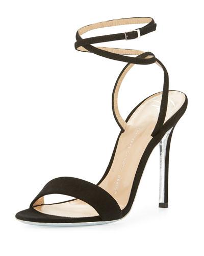 Kloe Suede Ankle-Wrap 110mm Sandal, Black