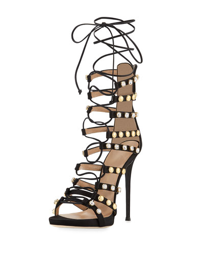 Coline Strappy Lace-Up 110mm Sandal, Black