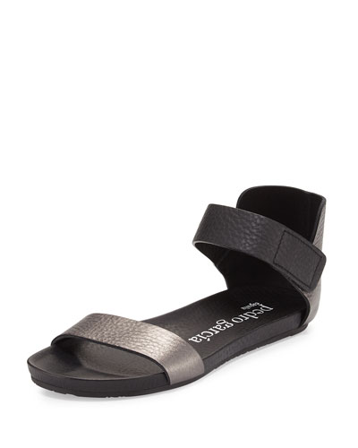 Juncal Metallic Leather Sandal, Charcoal