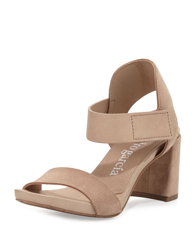 Willa Suede & Leather City Sandal, Beige
