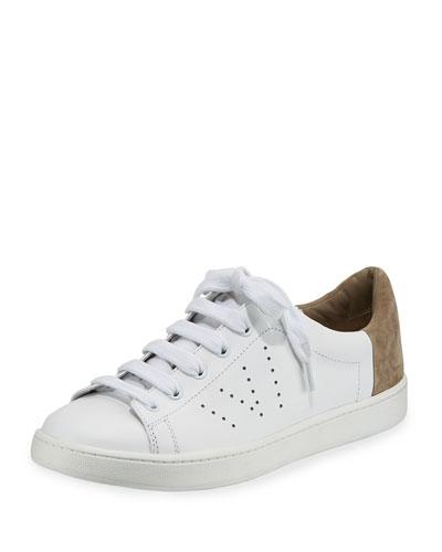 Varin Leather Low-Top Sneaker, White/Woodsmoke