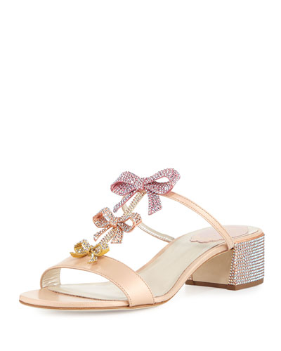 Bow Embellished 40mm Slide Sandal, Multi