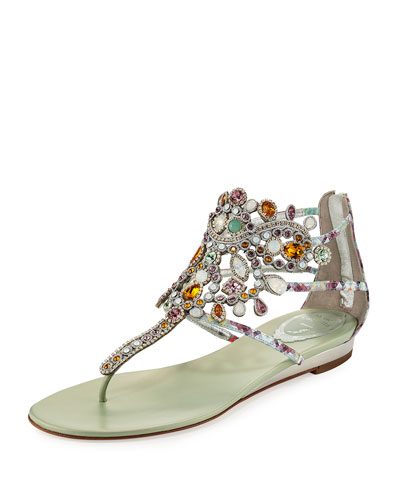 Crystal-Chandelier Thong Sandal, Multi