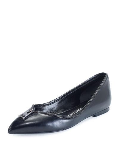 Zipper-Trim Leather Flat, Black