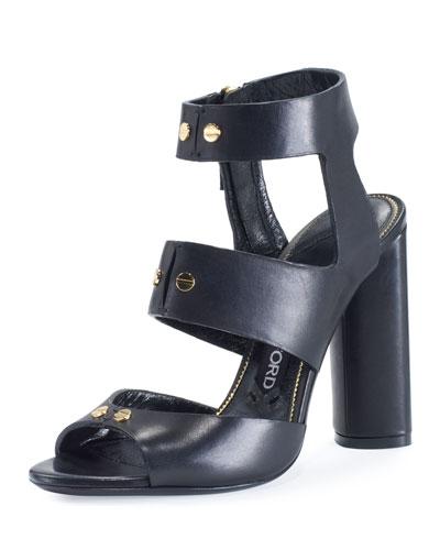 Rivet Leather 105mm Sandal, Black