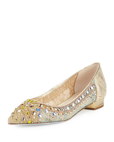 Beaded Lace Ballerina Flat, Gold